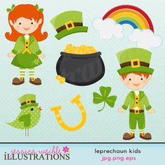 Leprechaun Kids Cute Digital Clipart for Card Design, Scrapbooking, and Web Design