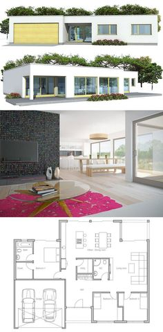 House Plan from ConceptHome.com, Modern Architecture, Three bedroom floor plan.