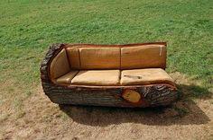 Fallen log bench