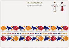 Semne Cusute: Romanian traditional motifs: MUNTENIA, Teleorman Folk Embroidery, Embroidery Patterns, Knitting Patterns, Yarn Crafts, Diy And Crafts, Romania People, Easter Art, Arts And Crafts Movement, Hama Beads