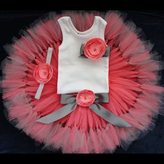 Gray and Coral Tutu Dress for Baby Girls 1st by StrawberrieRose