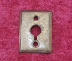 Simple Brass Escutcheon Plate, Key Hole - Rectangle