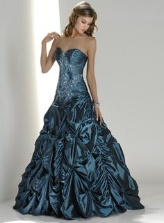 Modest A-Line Strapless Floor Length Satin Beading Roya Prom Gown Dress x521120