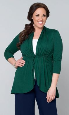 Green Cardigan in Bellini Style with empire waist and ties in front is just right over jeans or a skirt