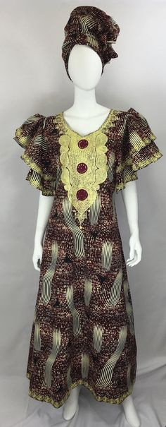Ankara Goddess Gown in Burgundy and Cream Short Sleeve Dresses, Dresses With Sleeves, Ankara, Burgundy, African, Gowns, Cream, Shopping, Clothes