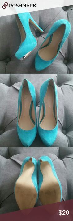 Nearly new BCBG blue suede shoes! EUC soft turquoise heels. Only wear to these is inner and outer sole and is minimal.  They are genuine leather and have silver detail on the toe that makes them even cuter! BCBGeneration Shoes Heels