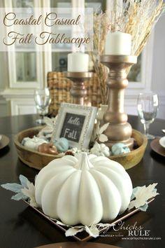 DIY Beautiful Coastal Casual Fall Tablescape on a Budget !
