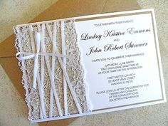 Burlap and Lace Wedding Invitation and rsvp card with Envelope Kraft and White Wedding Invite (FREE SHIPPING within the US). $5.95, via Etsy.