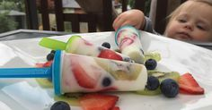 These sweet and simple frozen yoghurt popsicles are perfect for teething bubs…