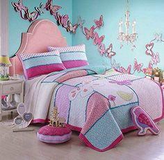 Kids' Quilt Sets - Cute Girls Stitching Patchwork Bedspreads Quilts Set Birds Butterfly Comforter Set 2 Pieces Twin ** Click image for more details. Kids Twin Bedding Sets, Pink Bedding Set, Cheap Bedding Sets, Coverlet Bedding, Comforter Sets, Girls Bedspreads, Patchwork Bedspreads, Butterfly Bedding Set, Cheap Bed Sheets