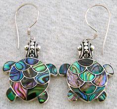 "1 1 16"" 925 Silver Turtle Paua Abalone Shell Dangling Turtle Earrings   eBay"