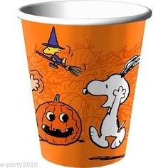 8-PEANUTS-HALLOWEEN-Orange-9oz-PAPER-CUPS-Party-Supplies-Snoopy-Woodstock