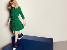 @Burberry: A bright green lace trench for girls, inspired by the @Burberry Prorsum S/S13 runway