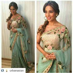 #Repost @UrbanAsian Newly Wed Bipasha Basu in a SabyaSachi for The Kapil Sharma Show tonight @UrbanAsian ❤❤❤