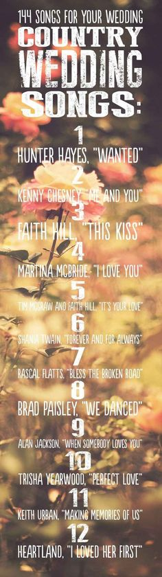 Country Wedding Songs | 144 Swoon-Worthy Songs For Every Part Of Your Wedding Day
