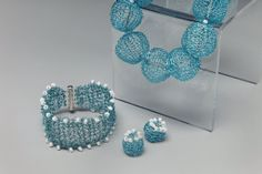 Blue Woven Wire Bead Necklace with Bracelet and Earrings