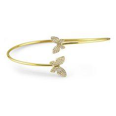 14K Diamond Double Butterfly Bangle