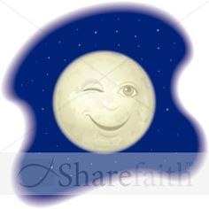 Cute Smiling Man in the Moon | Moon Clipart