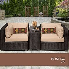 Rustico 3 Piece Outdoor Wicker Patio Furniture Set 03b -- Click on the image for additional details.