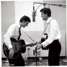 The Everly Brothers in RCA Studios' Studio B, 1957. They were pioneers in blending country music subject matter with acoustic guitar rock rhythms. Their sound has never become dated.