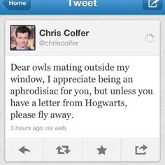 hahahaha Chris Colfer LOL