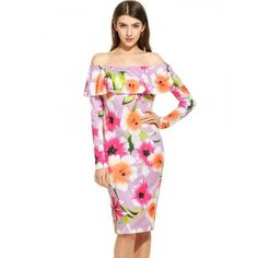 Women Casual Long Sleeve Floral Off Shoulder Pullover Sheath Dress