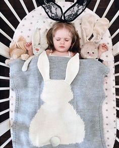 Newborn Knitted Kid Blanket Handmade Woolen Blended Soft Baby Blanket Newborn Cartoon Rabbit Baby Swaddle Throw Blanket 110*75cm
