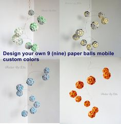 9 Paper Balls Mobile, Hanging Mobile, You Choose Color Design, Custom color mobile, Kinetic Mobile,Personalized, Home Decor, Nursery Mobile