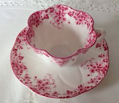 Wonderful vintage Shelley dainty pink china tea cup and saucer made in England circa 1940s in the Century Rose pattern. It is in good condition, no chips, cracks or crazing. There is one dark mark on the saucer under the glaze. Please Note: The items I sell are not new, they are