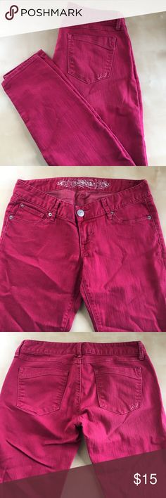 """Express skinny jeans Cranberry red burgundy low rise stretch skinny jeans.  15"""" waistband, 31"""" inseam, 5.5"""" leg opening at ankle, 7"""" rise. Express Jeans Skinny"""