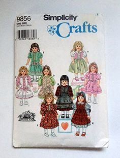 Simplicity Crafts 9856 Sewing Pattern Prairie Sun Fits 18 inch Girl Doll Clothes