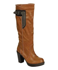Take a look at this Camel & Gray Anna Buckle Boot on zulily today!