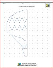 printable geometry worksheets 1 line symmetry balloon