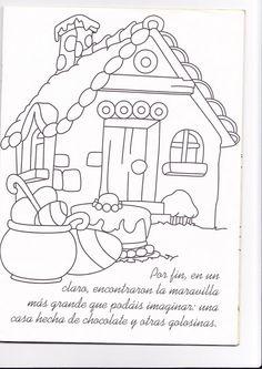 hansel and gretel candy house coloring page - dibujos de hansel y gretel la casita de chocolate para