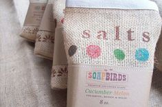 Natural Bath Salts in Vintage Inspired Burlap Gift Sacks-CUCUMBER MELON-Fresh Sweet Scent-Rejuvenating Muscle Relaxer-Refreshing Bath Soak #etsymnt #etsyretwt