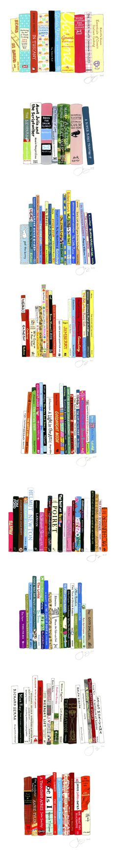 jane mount ~ 'ideal bookshelf' a gouache & ink series of drawings
