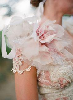 Claire Pettibone 'Genevieve' Wedding Gown with 'dew drop' bolero-via Style me Pretty