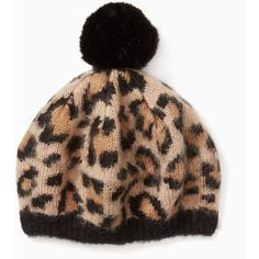 brushed leopard-print pom beanie (11.320 RUB) ❤ liked on Polyvore featuring accessories, hats, beanie caps, pom pom beanie hat, leopard beanie, leopard hats and beanie hat