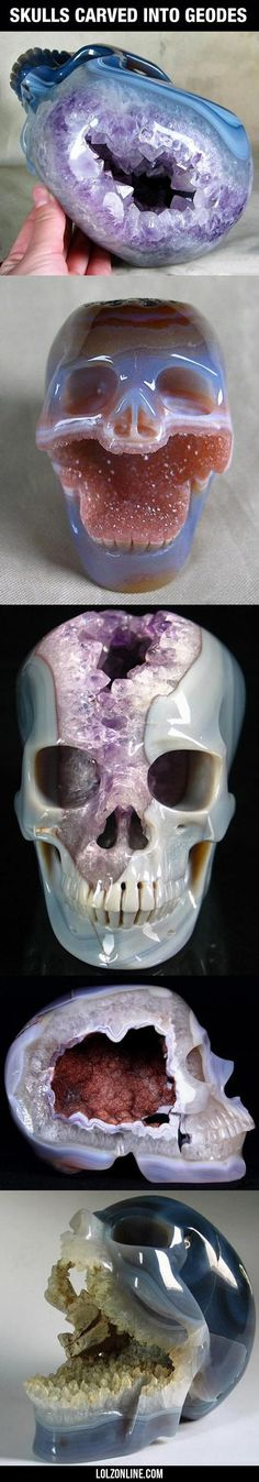 Skulls Carved Into Geodes...#funny #lol #lolzonline