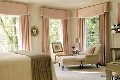 Traditional style bedroom in soft pinks and greens, which are complimentary colors.