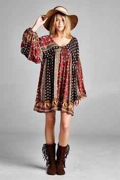 Blame My Gypsy Soul - Brown - Velzera - Dress - Angel Heart Boutique