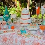 definitely an over-the-top party, but I love the orange & turquoise color combo