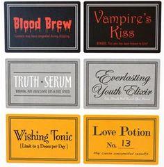Halloween Wine Bottle Labels 6ct - 275812 | Trendyhalloween.com #halloween #bottlelabels #truthserum