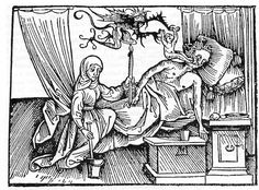 Devil taking the soul of a dying man, woodcut, 1508.