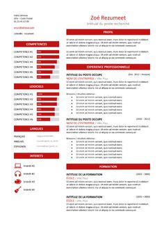 Zeeburg - Modèle de CV Classique - Rouge Microsoft Word Resume Template, Resume Template Examples, Resume Design Template, Executive Summary Template, Cv Curriculum Vitae, Professional Resume, Free Resume, Teaching, Words