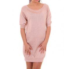 Relish disponibile! Abito in maglia rosa con filo lire x dorato