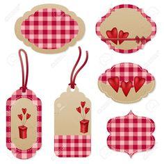 Niza etiquetas rojas para el Día de San Valentín