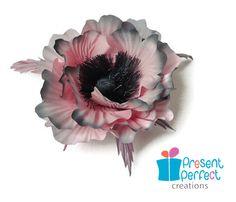 Pink poppy flower, silk poppy brooch, grey fabric corsage
