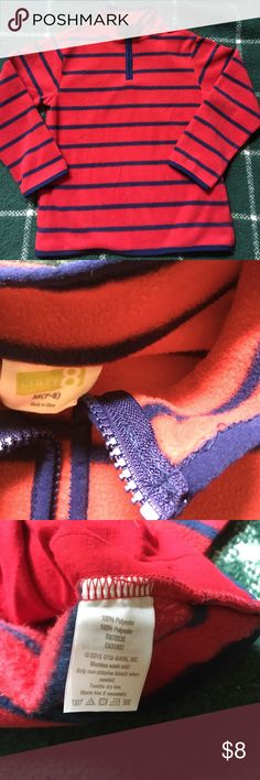 🏈Boy's striped fleece pull-over Red and blue stripes pull-over from CRAZY 8. In EUC. Only worn and washed twice before my son grew out of it. Zipper at neckline and side pockets. No smoking home. Boy's M (7/8) 🔹offers welcome 🔹bundle for greater discount crazy 8 Shirts & Tops