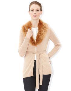 Kimberley Long Line Fur Trim Cardigan